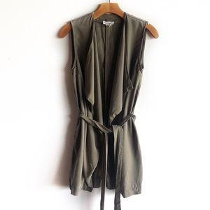 Artisan NY olive green draped tencel vest